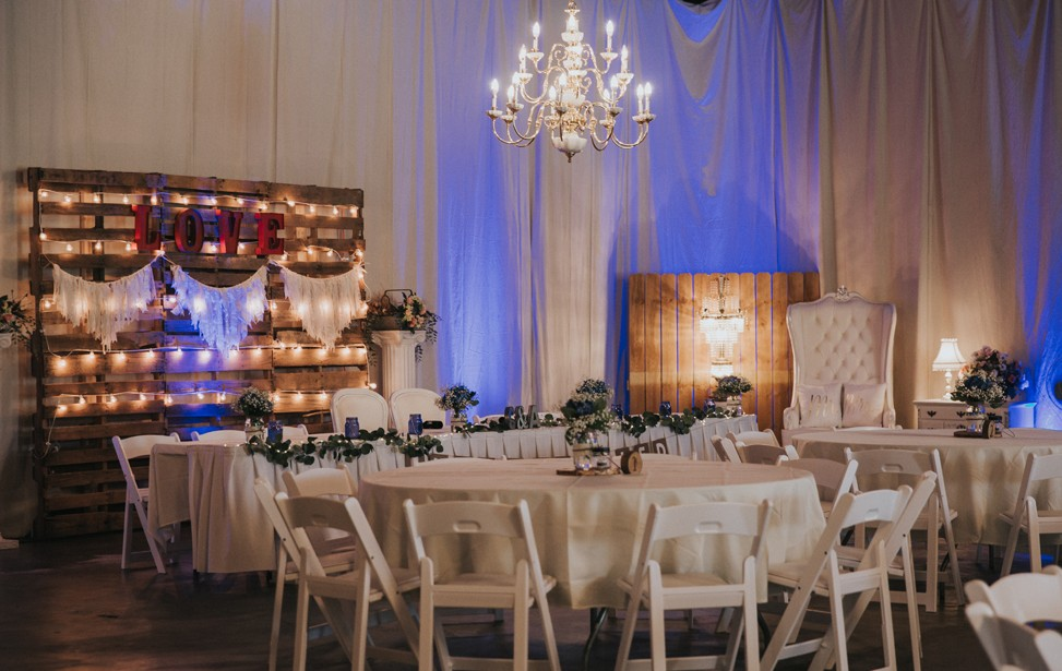 Tables, chairs and skirted-Head Table